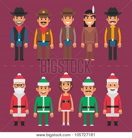 Group people cowboy sheriff santa claus gnome