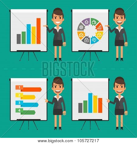 Infographics businesswoman indicates on flip chart