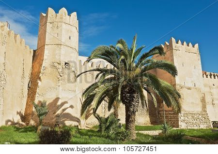 View to the wall and towers of the Sfax medina in Sfax, Tunisia.