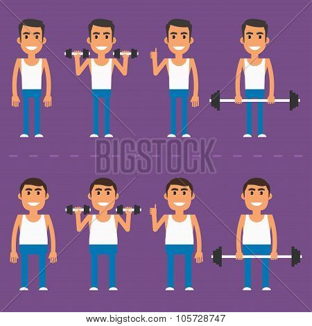 Thick and thin athlete in different poses