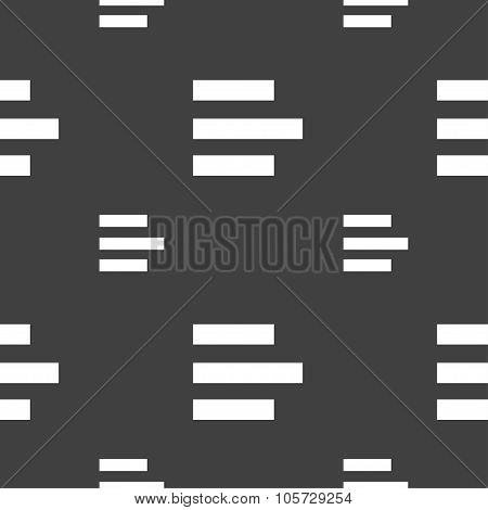 Left-aligned Icon Sign. Seamless Pattern On A Gray Background. Vector