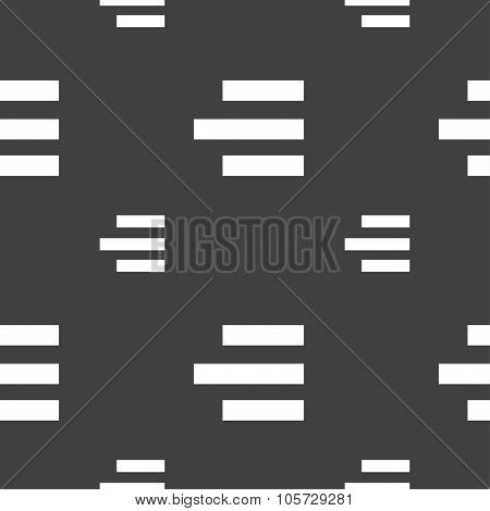 Right-aligned Icon Sign. Seamless Pattern On A Gray Background. Vector