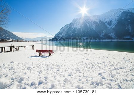 Winter mountain landscape on a sunny day.