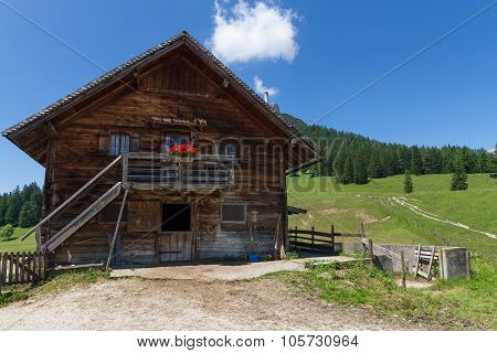 Rural scene with old alpine hut near Walderalm. Alps Austria Tirol