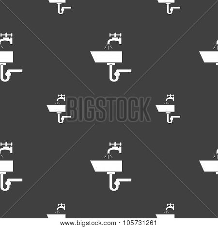 Washbasin Icon Sign. Seamless Pattern On A Gray Background. Vector
