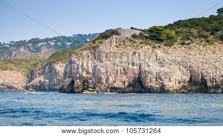 Coastal Landscape With Rocky Coast Of Capri