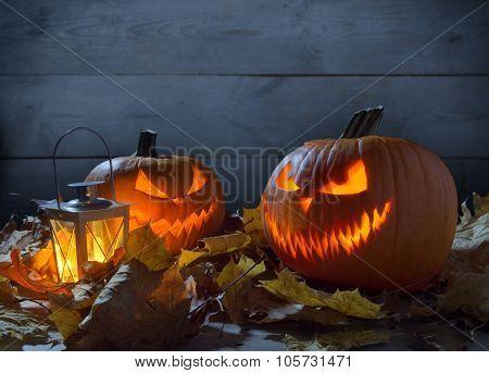 Scary Jack O Lantern On Wooden Fence