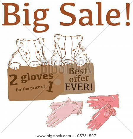 Big Sale illustration with cute badgers, leather gloves and labels