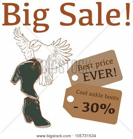 Big Sale illustration with cute bird, ankle boots and labels