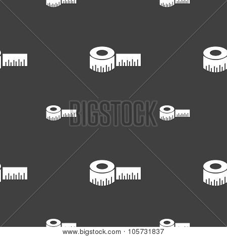 Roulette Construction Icon Sign. Seamless Pattern On A Gray Background. Vector