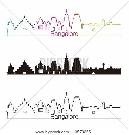 Bangalore Skyline Linear Style With Rainbow