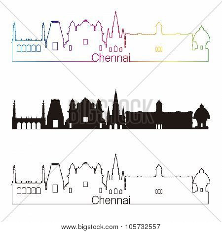 Chennai Skyline Linear Style With Rainbow