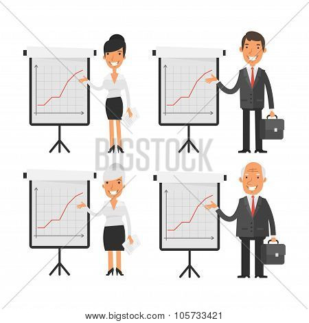 Business people point to flip chart