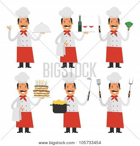 Cheerful chef in different poses part 1