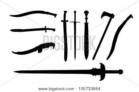 Set the Sword, Swords, Ax, Machete. Vector Illustration.
