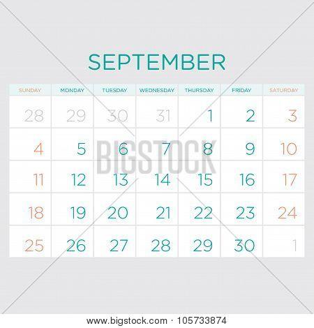 Calendar Vector Template 2016. September.
