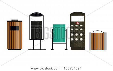 Trashcan Set Vector Illustration