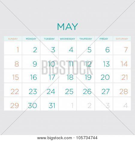 Calendar Vector Template 2016. May.