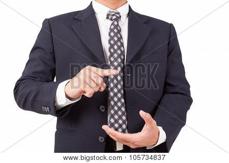 Businessman pointing finger on empty hand isolated on white background