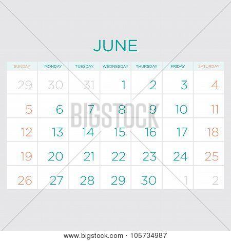 Calendar Vector Template 2016. June.