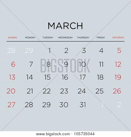 Calendar Vector Template 2016. March.