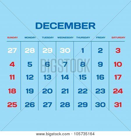 Calendar Vector Template 2016. December.