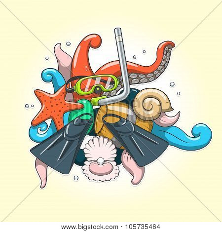 Diving abstraction vector illustration