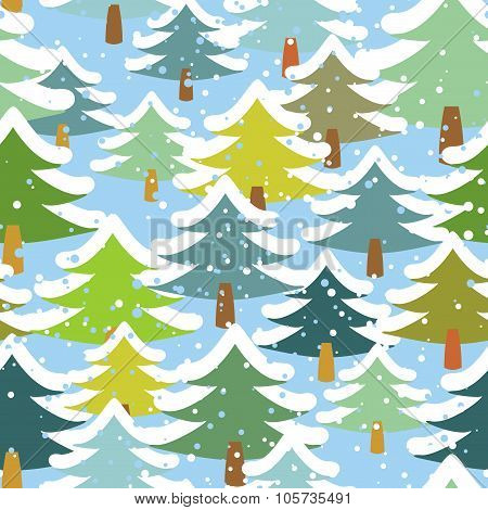Tree In Snow Seamless Pattern. Snowstorm In Forest. Snow On Trees Repeating Background. Retro Fabric