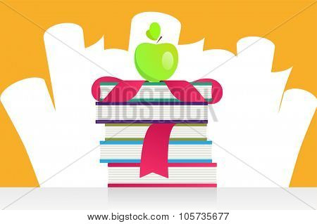 Graduation books and apple vector illustration. Education books, students books, school and college symbols. Graduation background. Education symbols. University books silhouette. Education vector