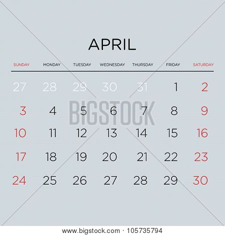Calendar Vector Template 2016. April.