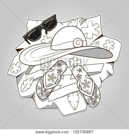 Summer clothes colorless vector illustration