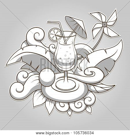 Cocktail abstraction colorless vector illustration