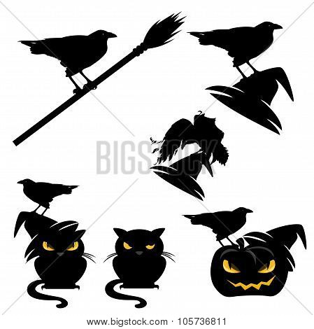 Halloween Ravens And Cats