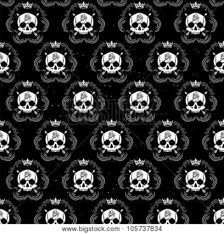vector seamless with skulls
