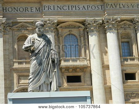 Statue Of Saint Peter And Saint Peter's Basilica At St. Peter's Square, Vatican City, Rome, Italy