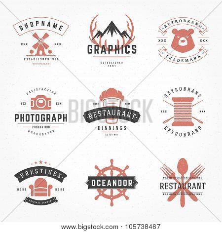 Retro Vintage Logotypes or insignias Hand drawn style set