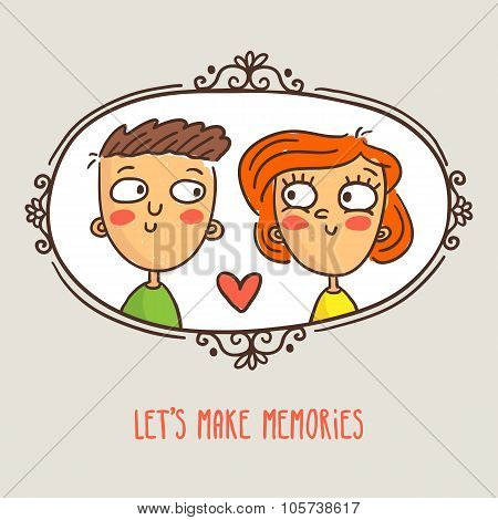 Cartoon Couple In Love, Framed Picture With Lovely Caption