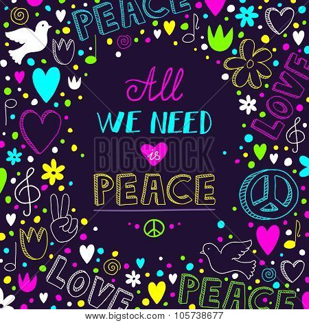 Vector Dark Purple Love And Peace Theme Background With Neon Doodles And Quote About Peace Theme Bac