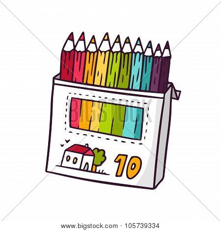 Colored Pencils, Bright Vector Children Illustration Isolated On White
