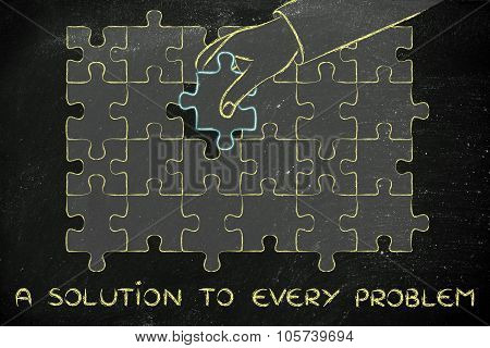 Hand Completing A Puzzle With The Missing Piece With Text Solution To Every Problem