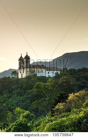 Sunset at Church San Francisco de Paula in Ouro Preto, Minas Gerais, Brazil