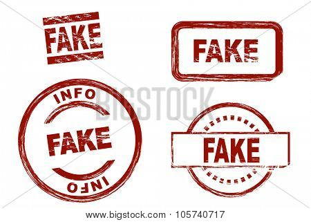 Set of stylized red stamps showing the term fake. All on white background.