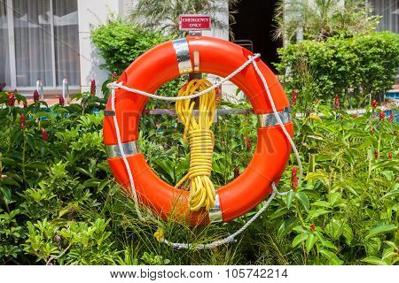 The Orange Life Buoy Is Hanging Around The Swimming Pool And Green Tree Background, Safety And Rescu