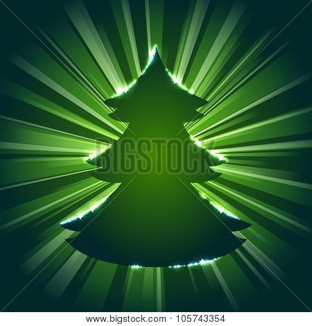 Christmas tree silhouette against a starburst