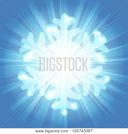 Bright snowflake shape against a starburst