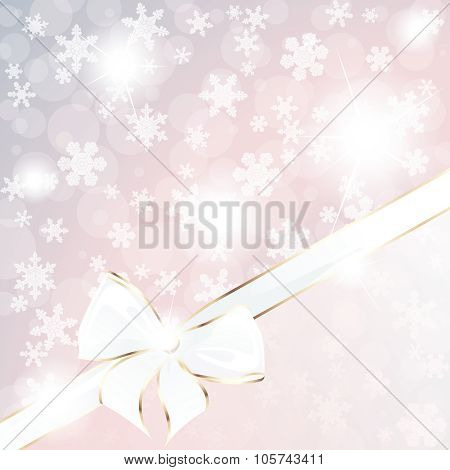 Pastel sparkly holiday background with an elegant bow