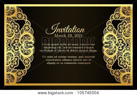 Vintage Black Invitation Cover With Golden Lace Decoration
