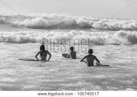 Teenagers Swimming Surfing