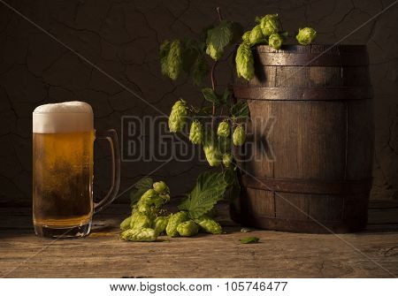 Still Life with a keg of beer
