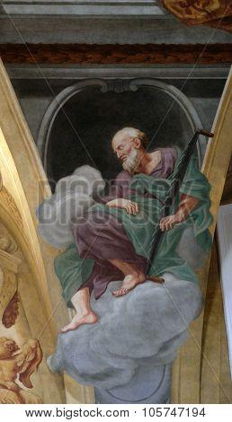 LJUBLJANA, SLOVENIA - JUNE 30: Saint Simon the Zealot, fresco on the ceiling  of the Cathedral of St Nicholas in Ljubljana, Slovenia on June 30, 2015
